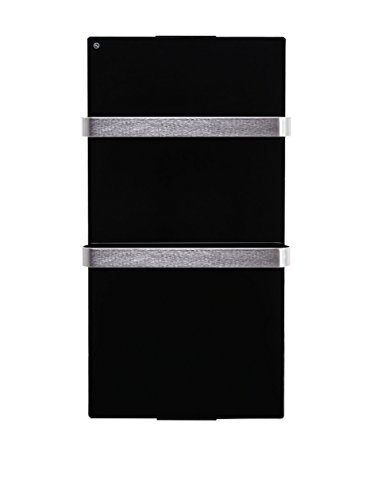 PURLINE ZAFIR V600T B - Elektrischer Handtuchhalter-Heizkörper aus schwarzem Hartglas, WIFI App-Steuerung und Wochenprogramm