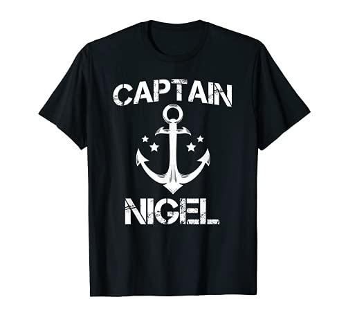 CAPITAN NIGEL Divertido cumpleaños personalizado nombre barco regalo Camiseta