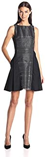 ARMANI EXCHANGE JACQUARD PANEL FIT-AND-FLARE DRESS FOR WOMEN - 6XYA06 YNB2Z
