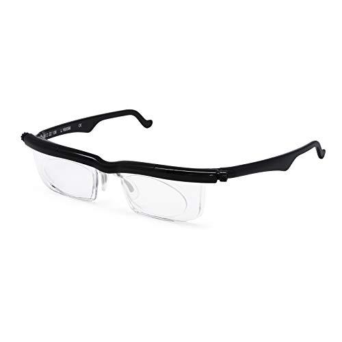 Adlens Schwerpunkt einstellbare Brille -4 bis +5 Dioptrien Kurzsichtigkeit Lupe lesen Gläser variabler Stärke(schwarz)
