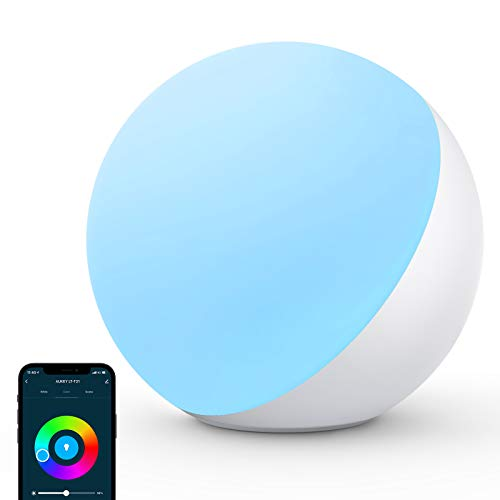 AUKEY Lampada da Comodino Touch Intelligente WiFi Luce Notturna LED compatibile con Alexa e Google Lampada da Tavolo Dimmerabile con Luce Bianco, RGB e Luce Notturna Lampada Smart per Bambini