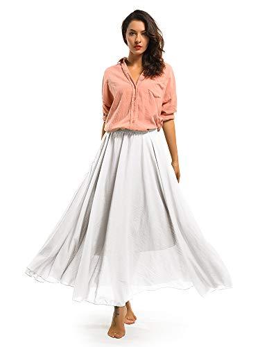 Falda de algodón elástica Ochenta para mujer, estilo bohemio, con cintura larga, vestido largo Blanco blanco 85 cm