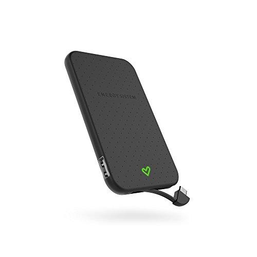 Energy Extra Battery 2500 Schwarz (2500mAh für Smartphones, ultraleichtes Design und integriertes Kabel)