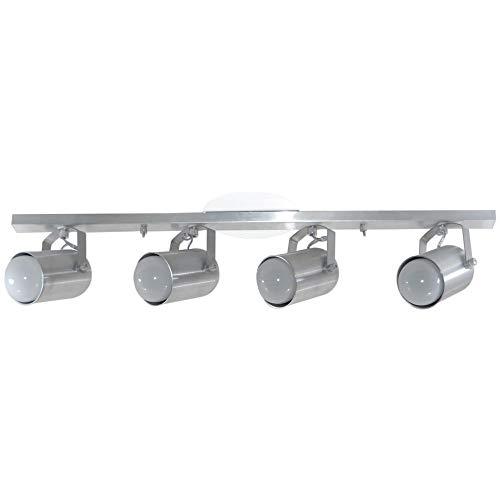 Spot No Trilho Para 04 Lâmpadas - Sala/Cozinha/Quarto - Aluminio Escovado