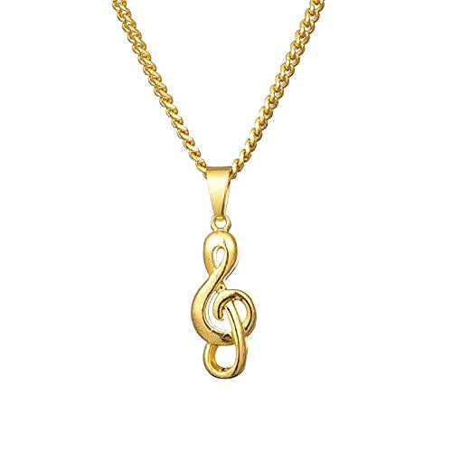 TTbaoz Collar con Colgante de Cadena de Notas chapadas en Oro, Accesorios, joyería de Hip Hop para Hombres y Mujeres