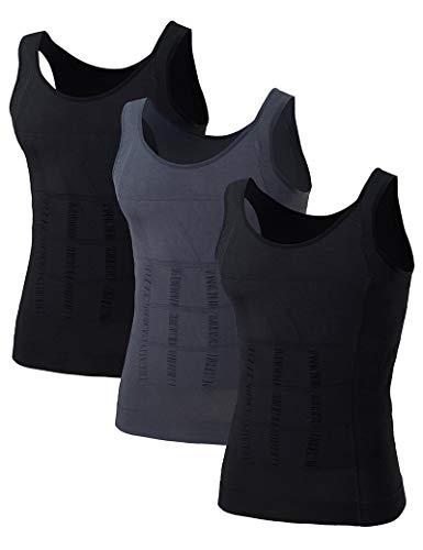 TOPTIE Mens Slimming Body Shaper Waist Trainer Vest Chest Gynecomastia Compression Shirt, 3 Pack-2 Black+1 Gray-L