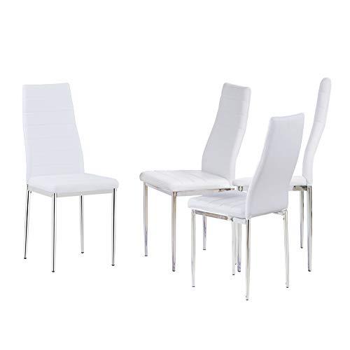 GOLDFAN Modern Dining Chairs Set mit 4 Weiß Küchenstühlen mit PU und Verchromten Beinen für Das Esszimmer, Weiß