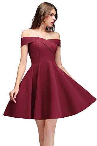 MisShow Damen Midi Kleid Burgundy Brautjungfernkleider Hochzeitskleider für Damen Abendkleider...