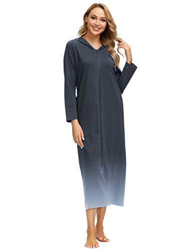 Zexxxy Damen Morgenmantel aus Baumwolle Bademantel Nachtwäsche Kimono Saunamantel mit Tiefer Dunkelblauer Farbverlauf S