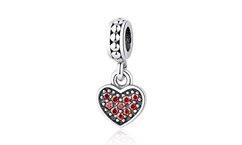 Charm corazón 100% Plata Ley 925 para Pulseras para Charms Tipo Pandora, Chamilia, Biagi, Swarovski. Abalorio corazón de plata 925