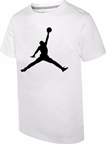 NIKE Air Jordan Boys' Jumpman T-Shirt (White, Large)