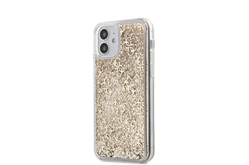 Guess - Carcasa con Purpurina líquida 4G patrón - Oro iPhone 12