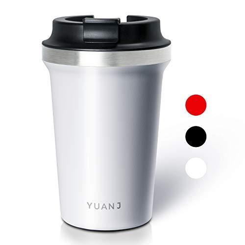 Yuanj Premium Thermobecher Kaffeebecher to go, 350ml Edelstahl Isolierbecher, Doppelwandig & Vakuumisoliert Autobecher/Travel Mug für Kaffee oder Tee (Weiß)