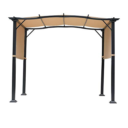 Outsunny Outdoor Retractable Pergola Garden Gazebo with Two Adjustable Side Canopy Overhead Sun Shade Backyard Canopy Cover, Steel Khaki 3x2.45x2.3m