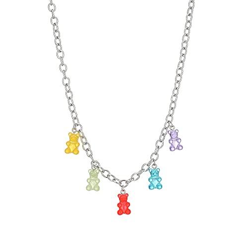 zhongbao Collar para niños con colgante de hongo, cadena de bolas, collar dulce para mujer, joyería de fiesta, collar para niños (color metálico: oso)