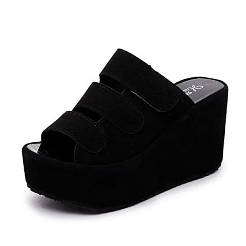 WUHUI Zapatillas de baño, Sandalias Deslizantes Unisex Adulto, Pendiente Inferior Gruesa con Zapatillas de Mujer de Pasta mágica de tacón Alto, Black_36