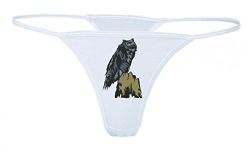 Druckerlebnis24 String Tanga Eule sitzt auf AST Eulen Vögel Nacht aktiv fliegen XS- XXL Damen String Sexy Unterhose
