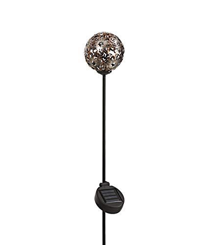 Dehner Solar-Dekostab Nova, Ø 15.5 cm, Höhe 110 cm, Metall, braun