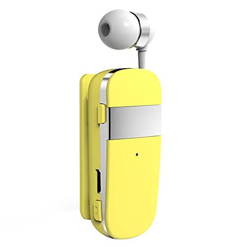 Cuffie Bluetooth 5.0,MoreChioce Auricolare Bluetooth Senza Fili Retrattile Cuffie Auricolari con Cancellazione del Rumore Cuffie Wireless Auricolari Cuffie Bluetooth nell'orecchio,10m,Giallo,k53