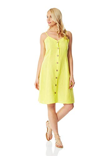 Romeinse Originelen Vrouwen Knop Door middel van Cami Shift Jurk - Dames Fit and Flare Zomer Casual Holiday Beach Everyday Garden Party BBQ Mouwloze Strappy Knielengte Skater Jurk