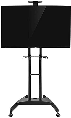 TV Bracket Mount Mobile TV Cart with Mount Adjustable with Caster TV Stand with 2 Shelves (Color : Black)