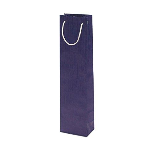 100 x Flaschentasche blau 95+65x380 cm | stabile Flaschentüten | Weintasche Baumwollkordel |Geschenktasche | Wine Bag | HUTNER