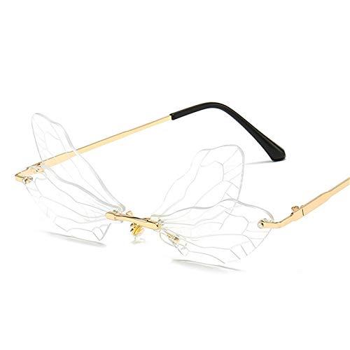 WajWackger Gafas de Sol de Moda para Mujer Gafas de Sol sin Montura - Gafas de Lentes Transparentes con Degradado sin Marco, Gafas de Sol de libélula para Hombres y Mujeres de época Moda C