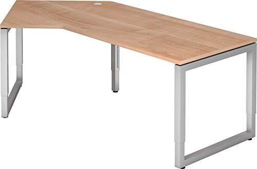 bümö® massiver Schreibtisch höhenverstellbar | Bürotisch extrem massiv & stabil | Büroschreibtisch Tisch für Büro in 4 Größen & 6 Dekoren (Nussbaum, 210 x 113 cm)