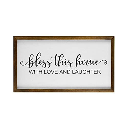 Zacathan432 Wood Framed Farmhouse Wall Decor Signs Bless This Home with Love and Laughter Rustic Wooden Sign for Kitchen, Bathroom, Living Room, 12'x22'