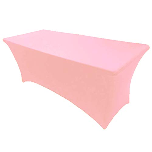 4' ft x 2.5' ft Spandex Fitted Stretch Tablecloth Rectangular Table Cover Wedding Banquet Party by GW Home (Pink, 4' ft x 2.5' ft)
