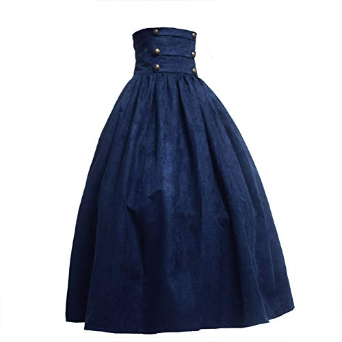 BLESSUME Gothic Lolita Steampunk High Taille Walking Rock Grün (L, Blau)