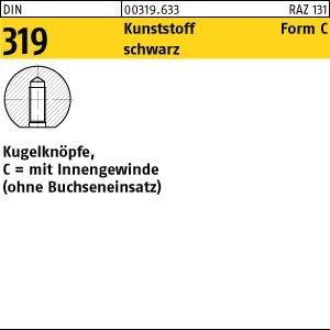 10 kogelknoppen DIN 319 C 40 M 10 zwart binnendraad of bus