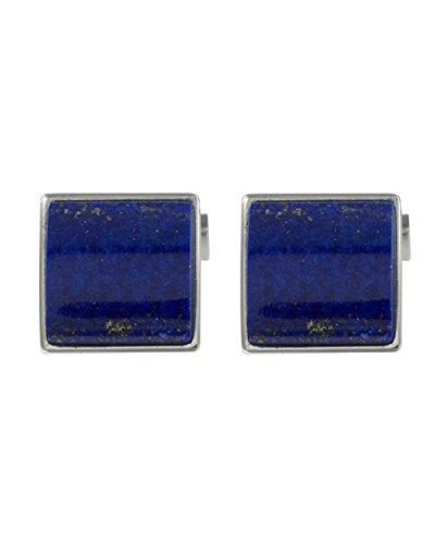 Baldessarini Herren-Manschettenknöpfe 925 Silber rhodiniert schwarz lackiert Lapis Lazuli blau - Y2123C/90/E4/
