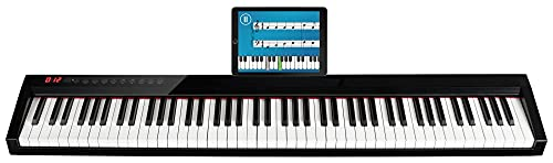 FunKey SP-588 Easy-Piano - Keyboard mit 88 Tasten in Standardgröße - Anschlagdynamik - Integrierter 2200 mAh-Akku - USB, MIDI & Bluetooth - Inklusive Tasche & Sustain-Pedal - Schwarz