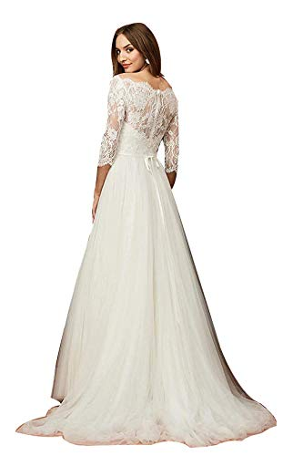 Off The Shoulder Wedding Dresses for Bride Long Sleeves A Line Lace Bridal Gowns Ivory Plus Size (Apparel)