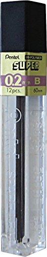 Pentel C502-B Hi-Polymeer Super fijne vulling 0,2 mm, B geschikt voor Orenz vulpotlood PP502 12 vullingen per doos