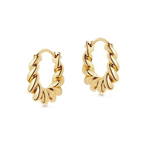 Brandlinger  Pendientes aros de plata de ley 925 bañada en oro de 18k , forma girada