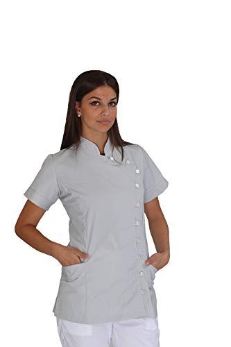 tessile astorino Bordado gratuito – Casaca de mujer de trabajo gris – Chaqueta sanitaria de manga corta – Bata para peluquería, esteticista, dentista, centro sanitario, salón de belleza gris XXL