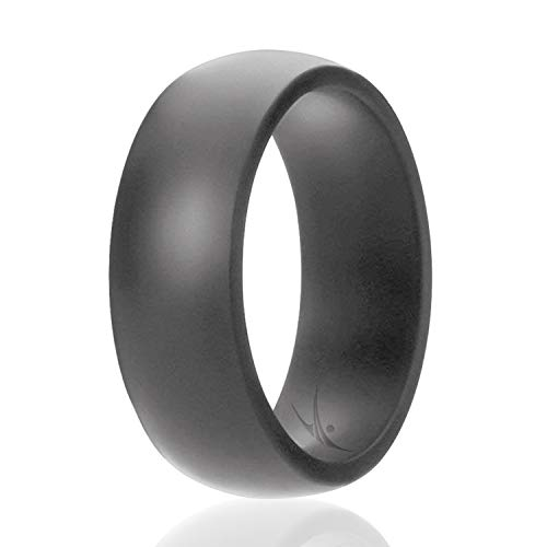 ROQ Silicone Wedding Ring for Men Affordable Silicone Rubber Band, Grey - Size 14