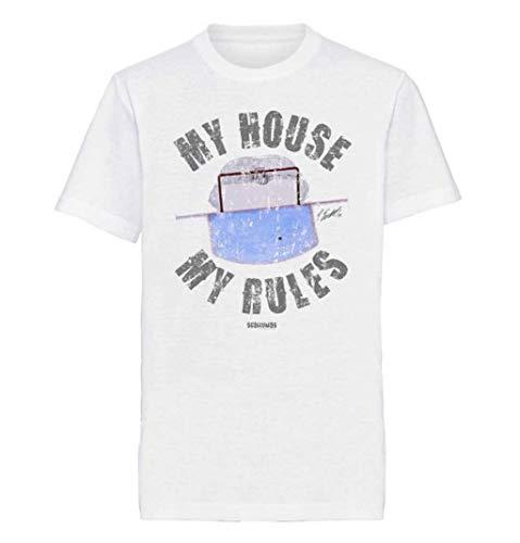 Scallywag® Eishockey Kinder T-Shirt My House My Rules - Eishockeytor I Größen S - 3XL I A BRAYCE® Collaboration (offizielle Goalie Dennis Endras FOURCE44 Collection) (L (140))