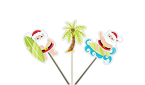 Santa Surfing, Christmas in July Cupcake Toppers, Beach Christmas, surfing Santa Cupcake Toppers, XMAS in July, Snowman Party Decorations, xmas cupcake toppers, xmas cake toppers, ch party decor, xmas on beach, summer Christmas, July Christmas, BBQ Christmas, Santa Surfboard, Santa Beach, Summer Christmas