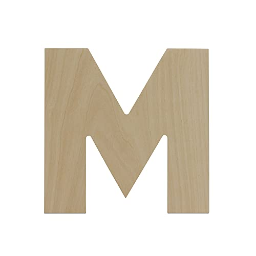 Wooden Letters - M - Unfinished 8 x 8 inch Decorative Craft Monogram for Wedding Parties and Home Décor with Tool Free Adhesive Foam Squares for Hanging - by Woodpeckers