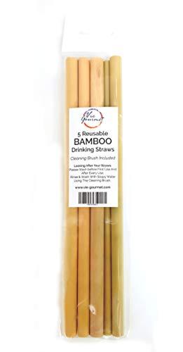 VIE Riutilizzabile bambù Cannuccia, Giallo, One