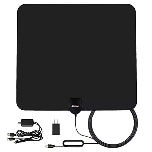 Zeikos [2019 Latest] Amplified HD Digital TV Antenna Long 90 Miles Range – Support 4K 1080P & All Older TV's Indoor Powerful HDTV Amplifier Signal Booster - 18ft Coax Cable/USB Power Adapter