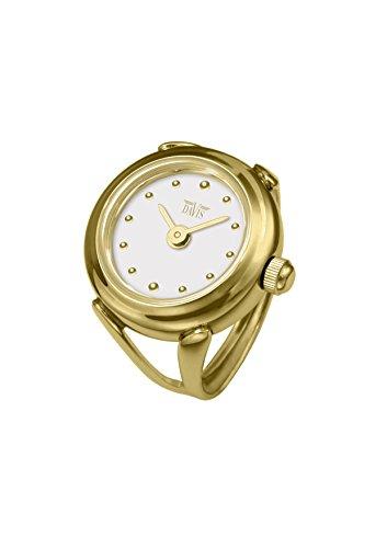 Davis 4180 - Reloj Anillo Mujer Ajustable Acero Oro Esfera Blanco Cristal de Zafiro