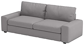 Heavy Cotton KIVIK Three Seat  Not Loveseat   Sofa Cover Replacement Custom Made Compatible with IKEA Kivik 3 Seater Sofa Slipcover Only  Light Gray