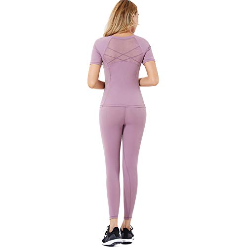 HQPCAHL Yoga Set Damen Bekleidung Yoga-Set Bewegung Fitness Zweiteiliger Anzug Maschennaht Schnelltrocknend Atmungsaktiv Elastizität Hohe Taille Hüftlift,Lila,XL