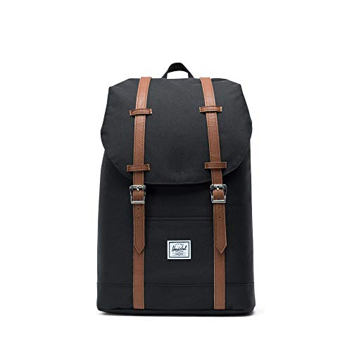 Herschel Retreat Mochila Mediana, 16.25 x 11 x 4.75 cm, Negro (Black/Tan Synthetic Leather)