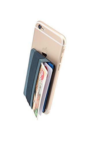 Sinjimoru Smart Wallet mit Handy Fingerhalterung, Slim Wallet/Kartenetui/Kartenhalter/aufklebbare Mini Geldbörse mit Handschlaufe für die Einhandbedienung. Sinji Pouch Band, Blau-Grau.