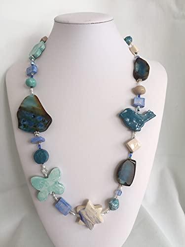 Collana Donna in pietre dure, ceramica e argento'Capri'
